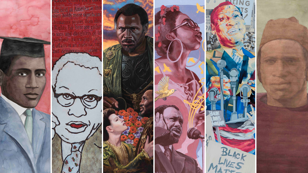 collage of Paul Robeson paintings