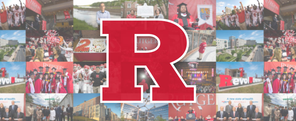 Block R over collage of Rutgers photos