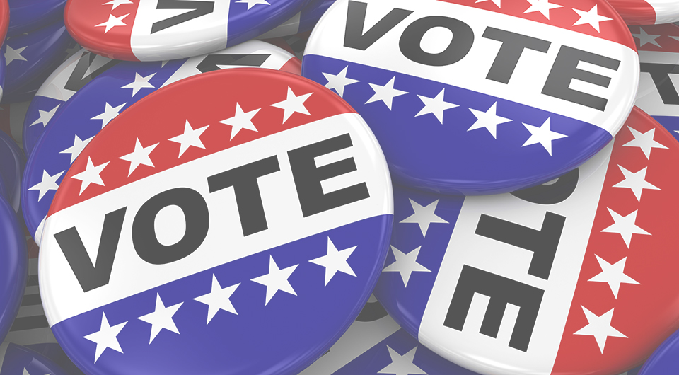 Red, white and blue pins with the word Vote