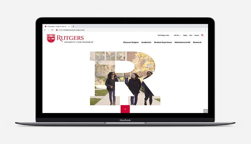 Graphic of open laptop showing Rutgers–New Brunswick website