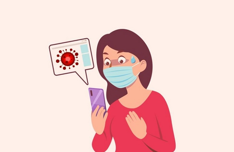 Illustration of person wearing a face mask looking at phone message about Coronavirus