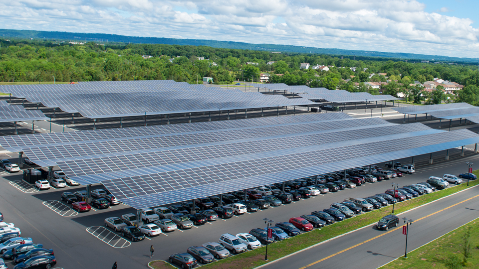 Solar panel parking lot on Livingston Campus in Piscataway