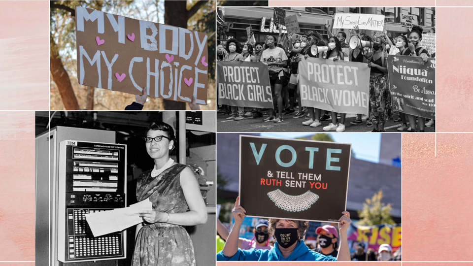 Women's History Month & Voting collage